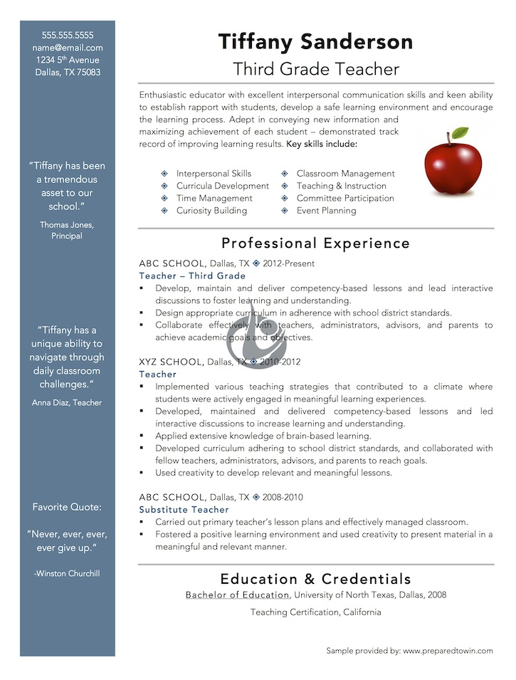 Free Resume Templates For Teachers